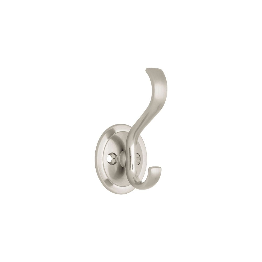 Coat & Hat Hook w/ Round Base Satin Nickel