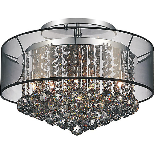 20-inch Round Flushmount Lighting Fixture with Black Shade