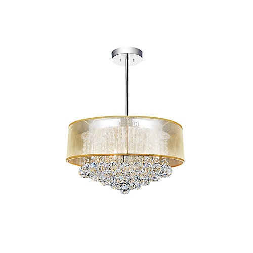 Round 20 Inch Pendent Chandelier with Gold Shade