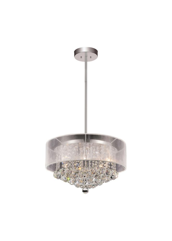Round 20 Inch Pendent Chandelier with White Shade
