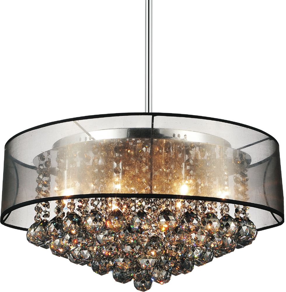 CWI Lighting 20-inch Round Pendant Chandelier with Black Shade