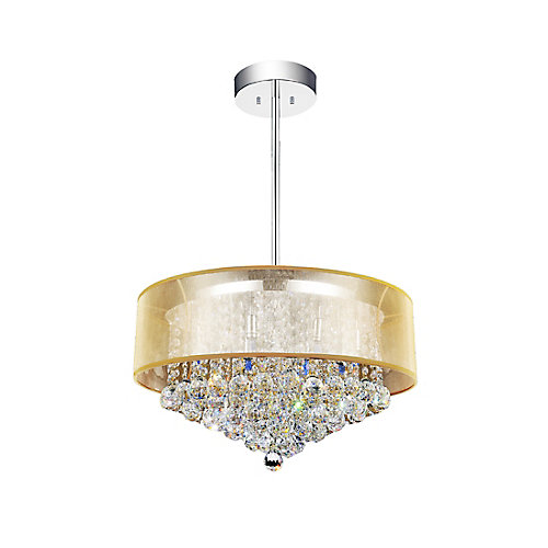 Round 24 Inch Pendent Chandelier with Gold Shade