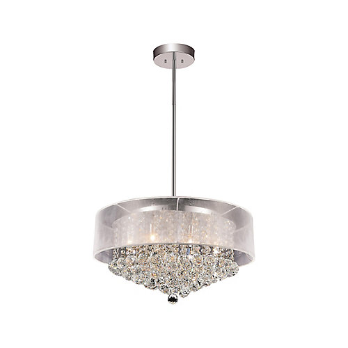 Round 24 Inch Pendent Chandelier with White Shade