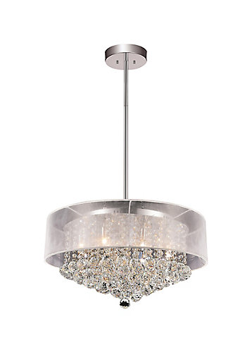 Cwi lighting round 24 inch pendent chandelier with white shade the round 24 inch pendent chandelier with white shade mozeypictures Images