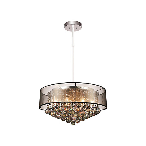 24-inch x 13-inch Round Pendent Polished Chrome Chandelier with Black Shade