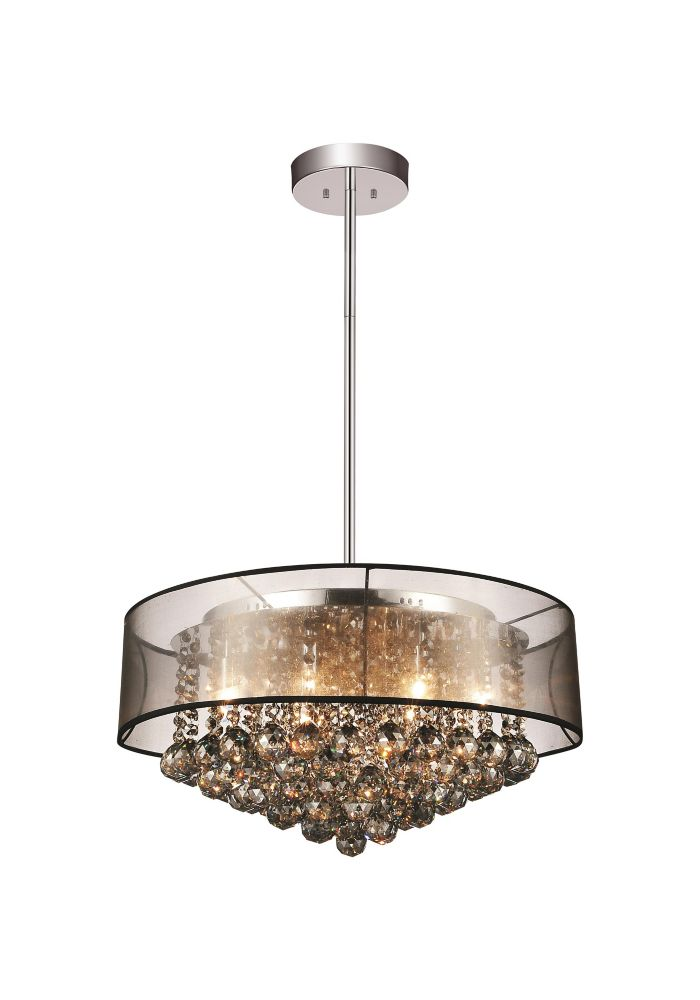 CWI Lighting 24-inch x 13-inch Round Pendent Polished Chrome Chandelier with Black Shade