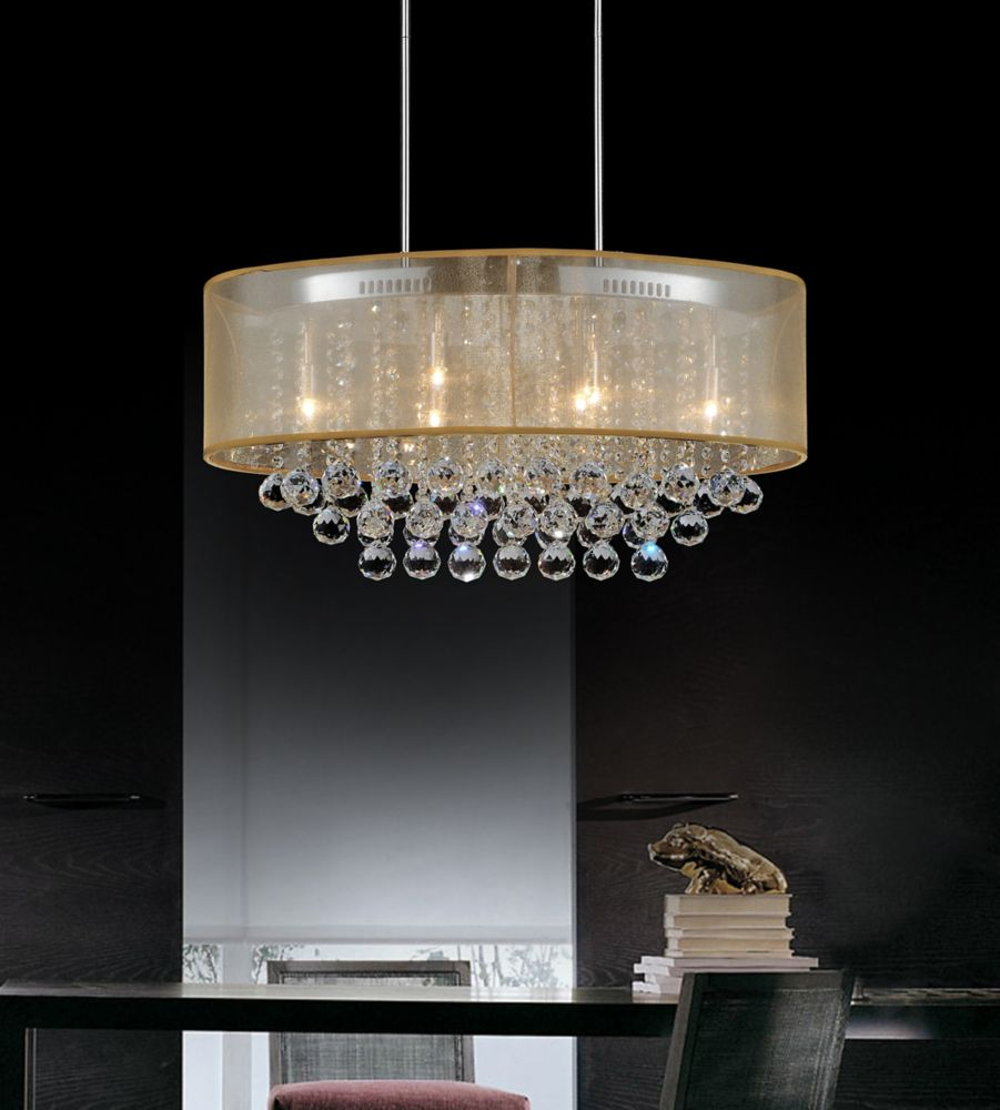 CWI Lighting Oval 26 Inch Ceiling Chandelier with Gold Shade
