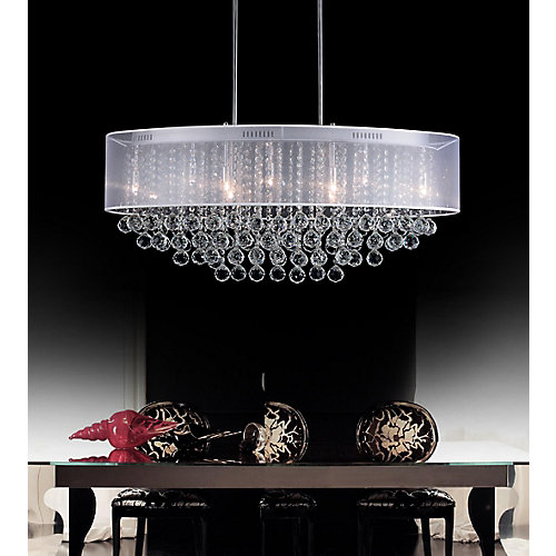 26-inch x 13-inch Oval Pendent Polished Chrome Chandelier with White Shade