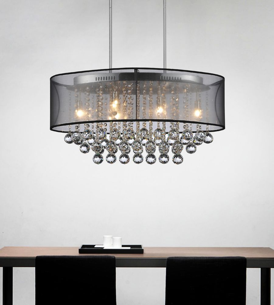 Oval 26 Inch Pendent Chandelier with Black Shade 5063P26C (Clear   B) in Canada