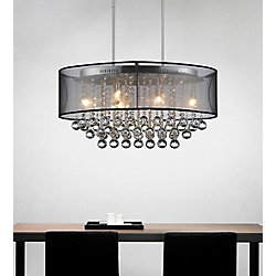 CWI Lighting Oval 26 Inch Pendent Chandelier with Black Shade