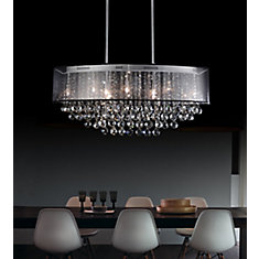 26-inch Oval Pendent Chandelier with Black Shade