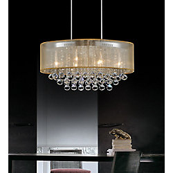CWI Lighting Oval 36 Inch Pendent Chandelier with Gold Shade