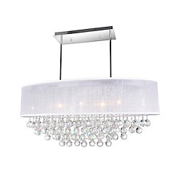 CWI Lighting 36-inch Oval Pendent Chandelier with White Shade