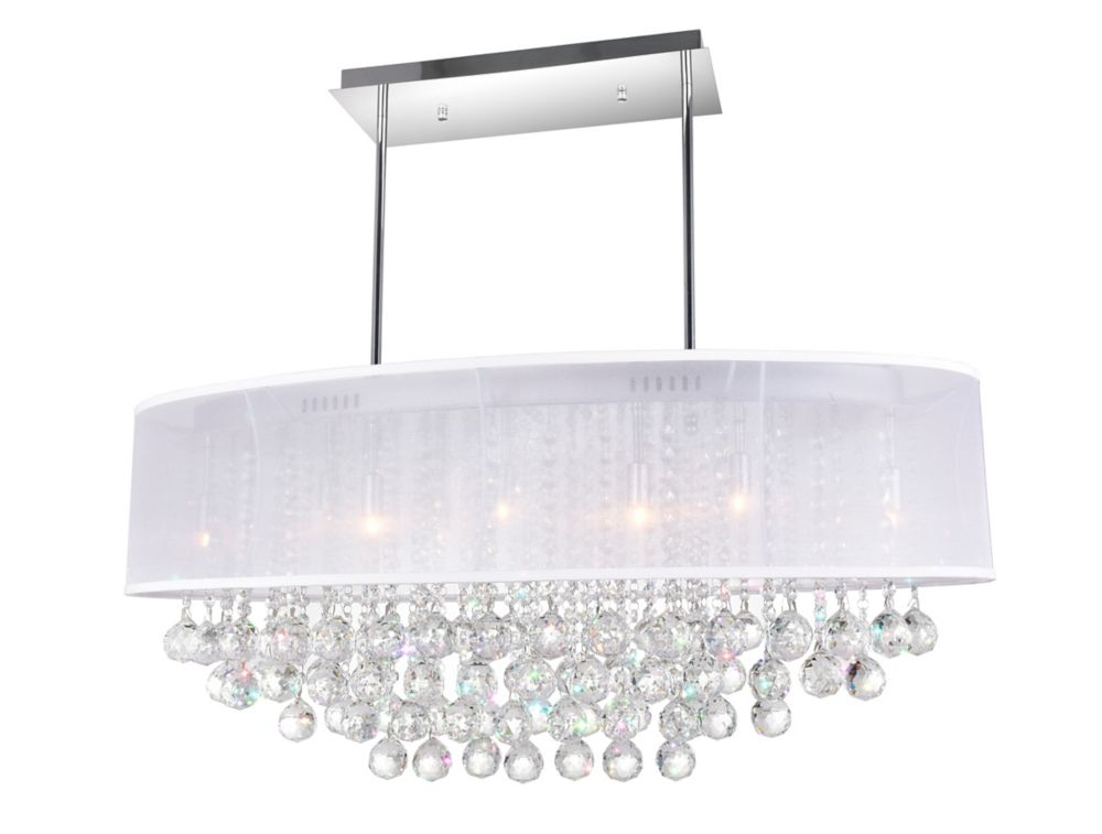 Oval 36 Inch Pendent Chandelier with White Shade