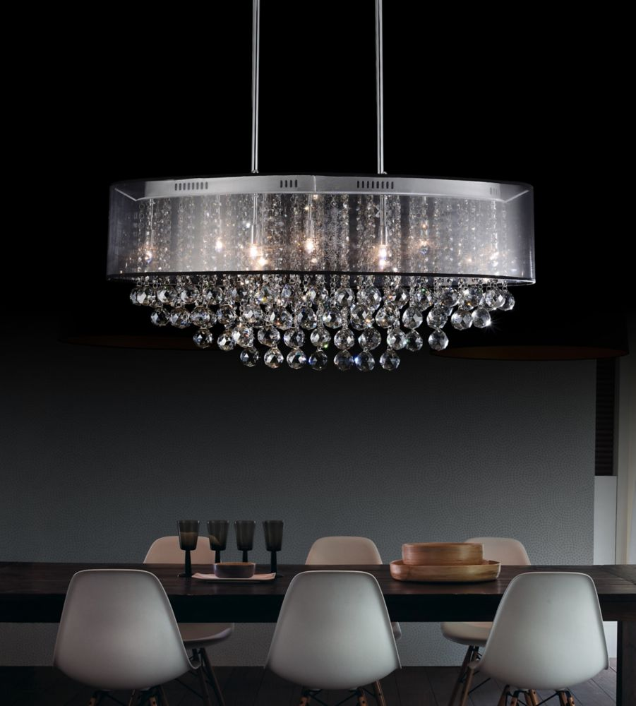 Oval 36 Inch Pendent Chandelier with Black Shade