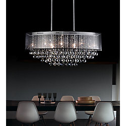 CWI Lighting 36-inch x 15-inch Oval Pendent Polished Chrome Chandelier with Black Shade