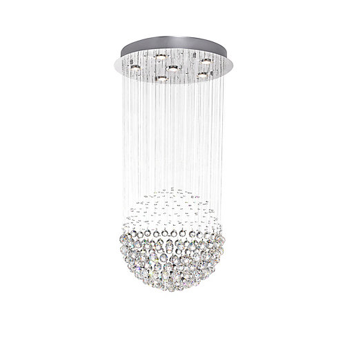 24-inch Crystal-Trimmed Sphere Flushmount Light Fixture in Polished Chrome