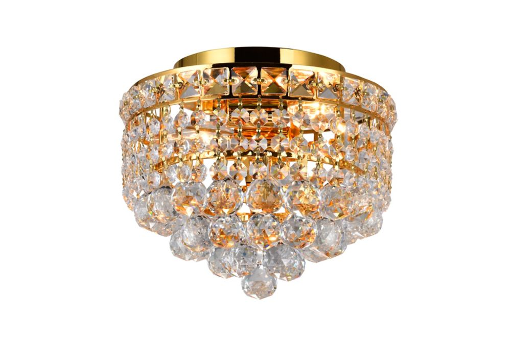 10-inch Round Flushmount Lighting Fixture in Gold