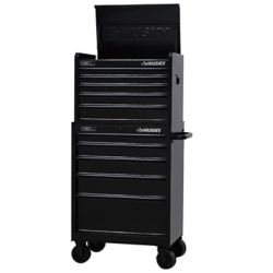 HUSKY 27 Inch. 9-Drawer Black Out Chest & Cabinet Set