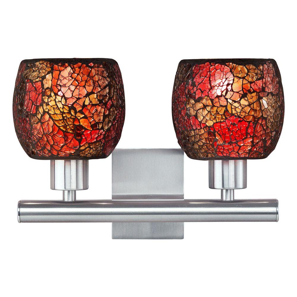 SABANA Wall Light 2L, Matte Nickel Finish, Multi-Coloured Mosaic Glass