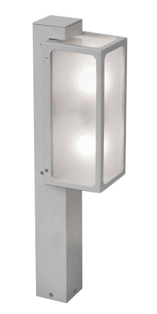 LINARES Post Light 2L, Silver Finish, Satin Glass