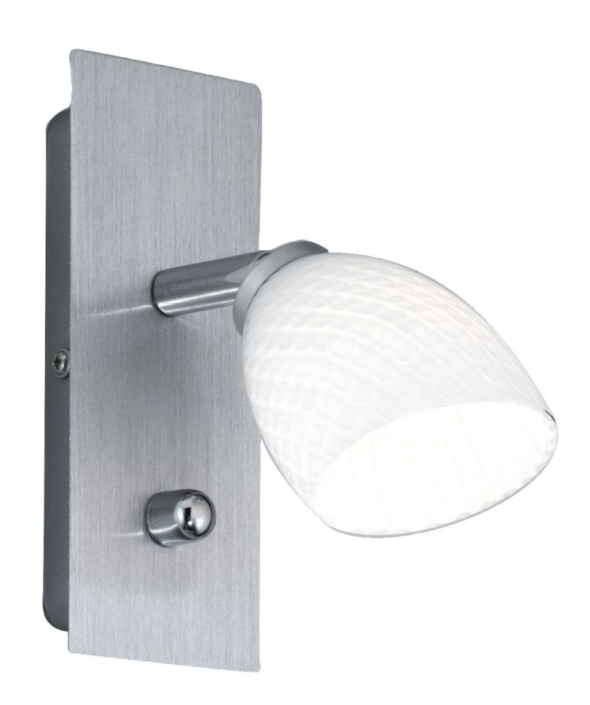 TERRY 1 Wall Light 1L, Brushed Aluminum Finish, Opal White Glass