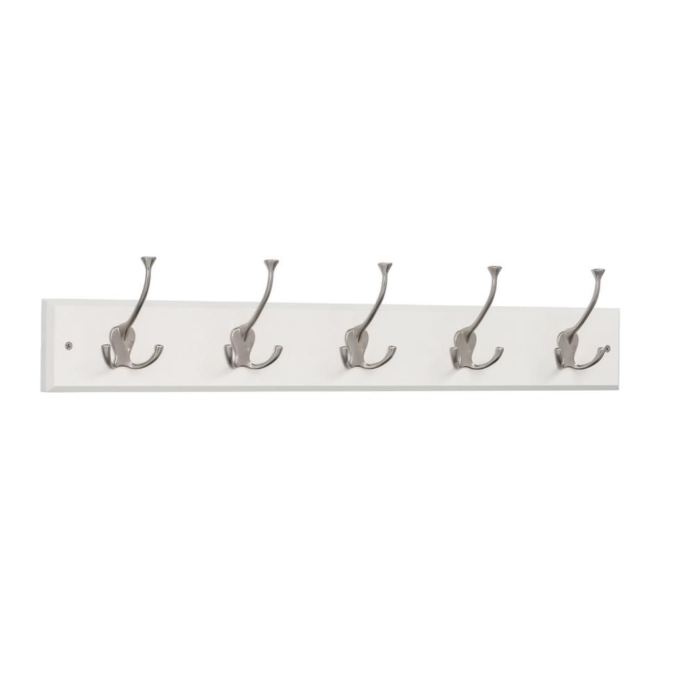 27 in. Rail w/5 Tri-Hooks White and Satin Nickel
