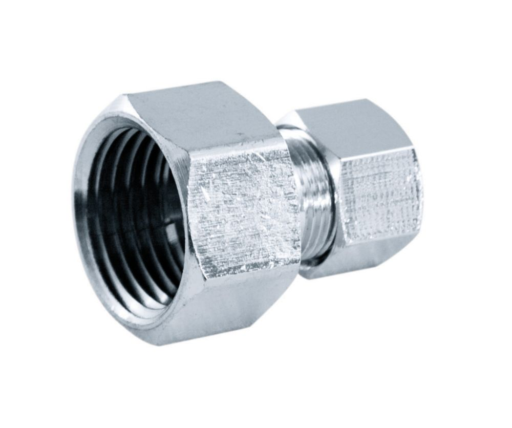 Supply Fitting 1/2 Inch Female Threaded Straight Chrome Plated Brass Lead Free