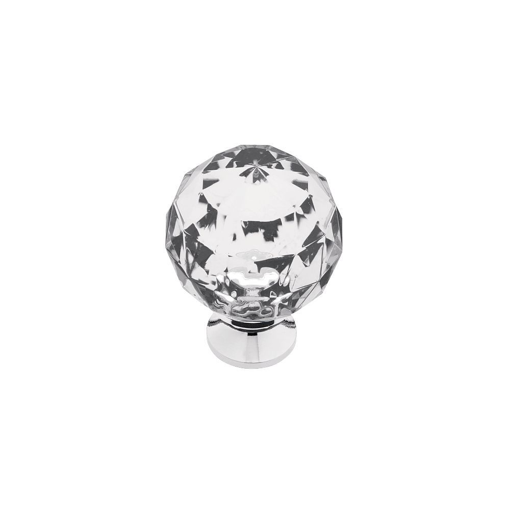 1-3/16  in. Acrylic Faceted Knob with Brass Base