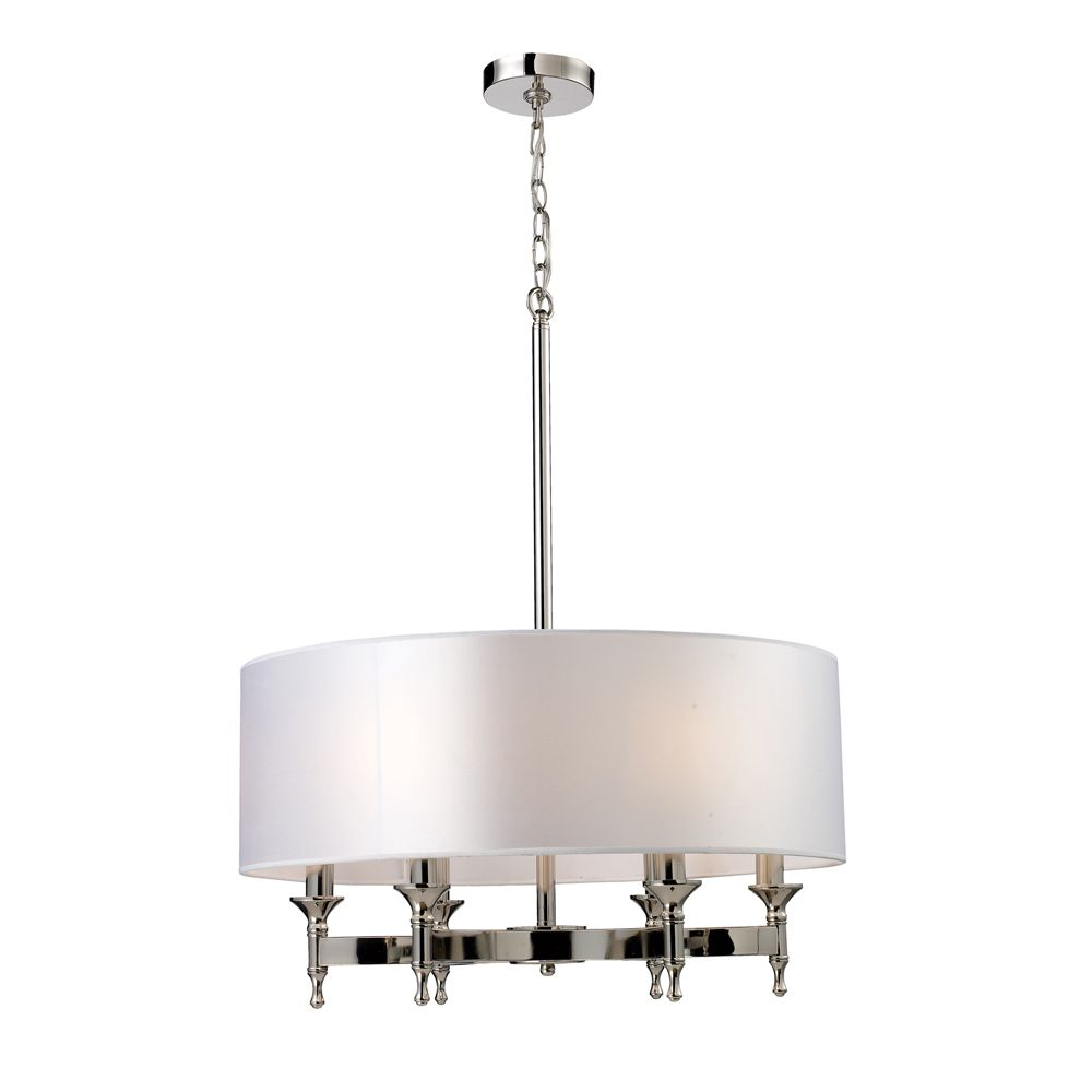 6-Light Ceiling Mount Polished Nickel Chandelier
