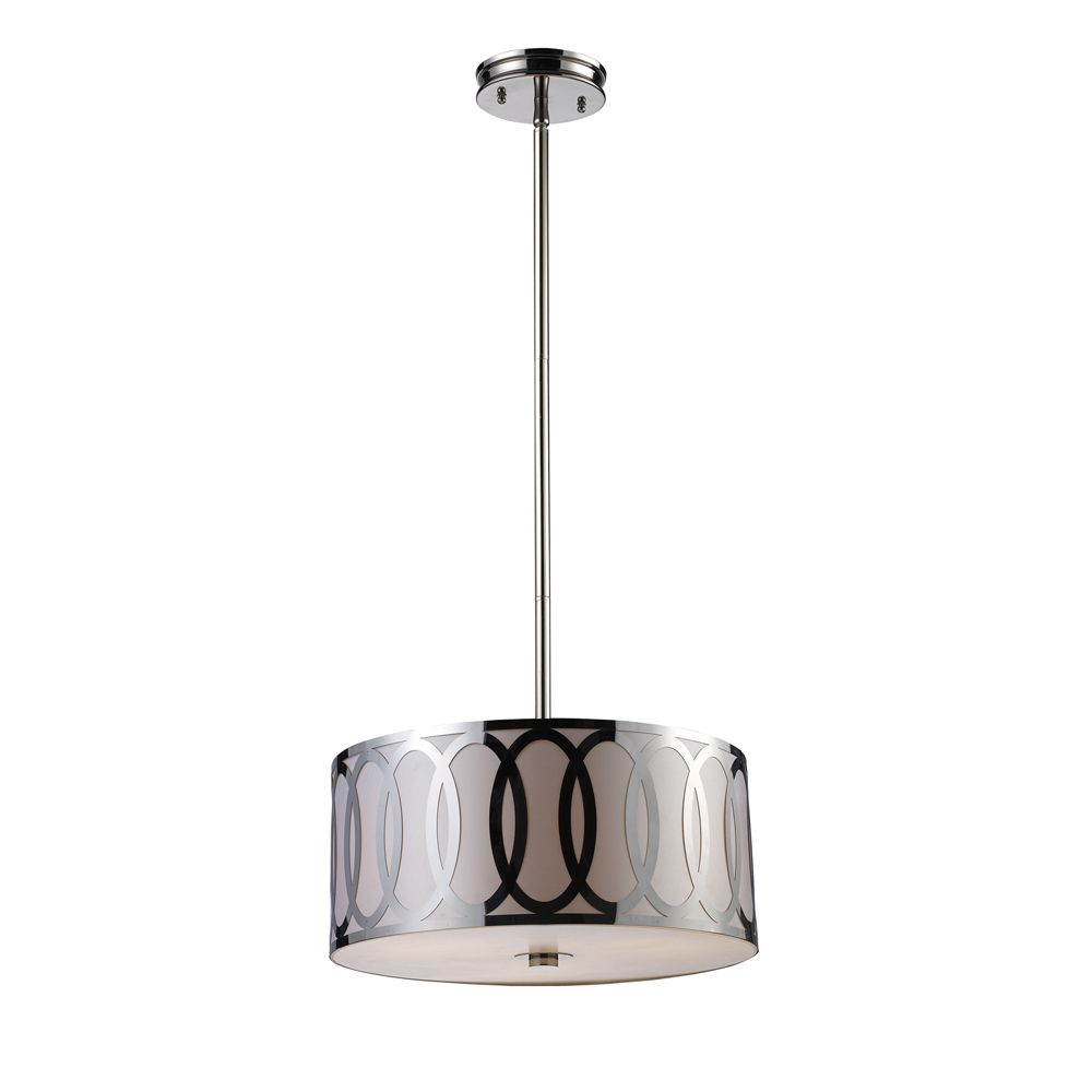 3-Light Ceiling Mount Polished Nickel Pendant