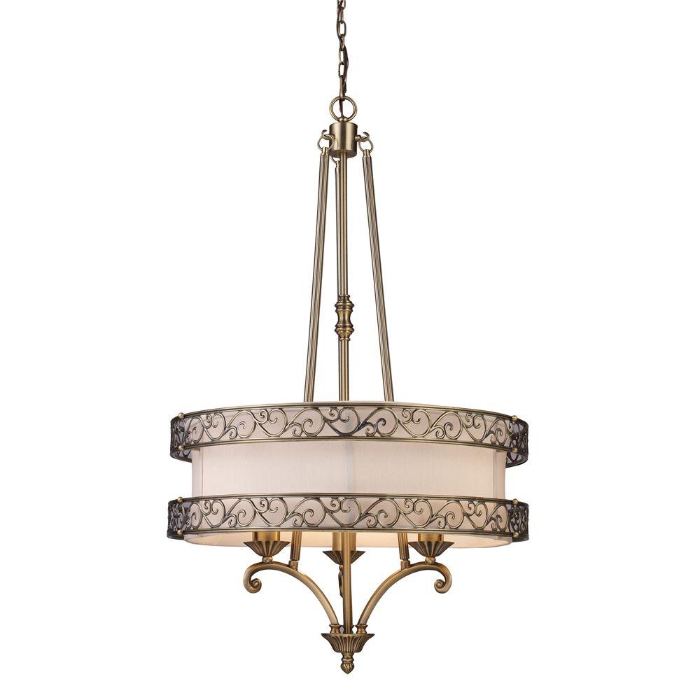 3- Light Ceiling Mount Antique Brass Chandelier