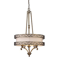 Titan Lighting 3- Light Ceiling Mount Antique Brass Chandelier