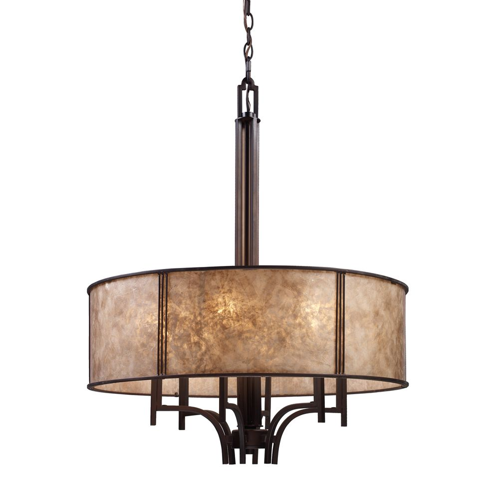 Titan Lighting 6-Light Ceiling Mount Aged Bronze Chandelier