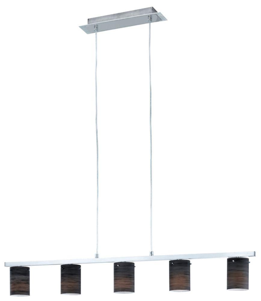 DRESS Suspension 5L, fini aluminium brossé et chrome avec verre noir essuyé