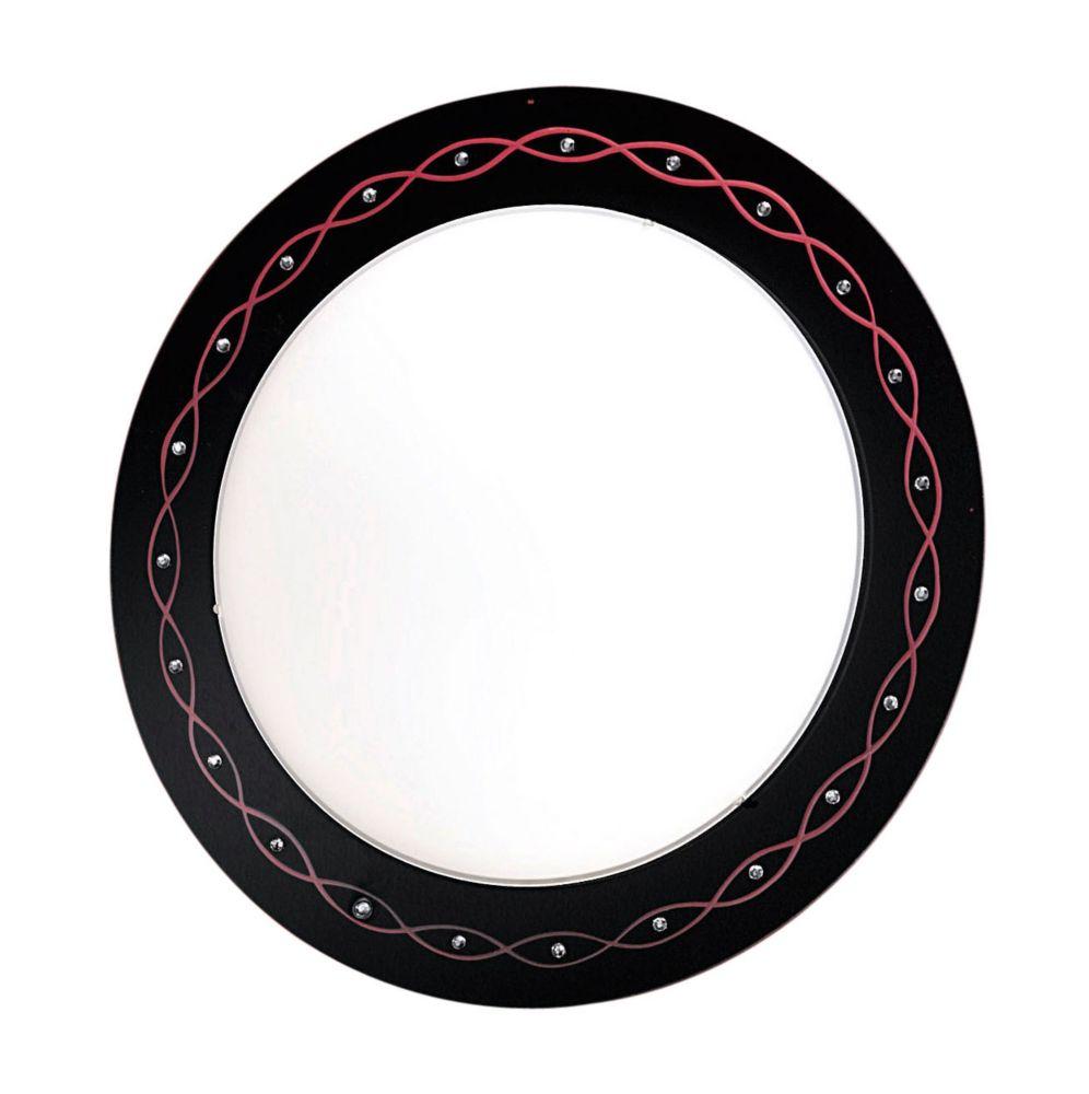 SCALEA Plafonnier 2L, fini noir avec dessins, verre givré