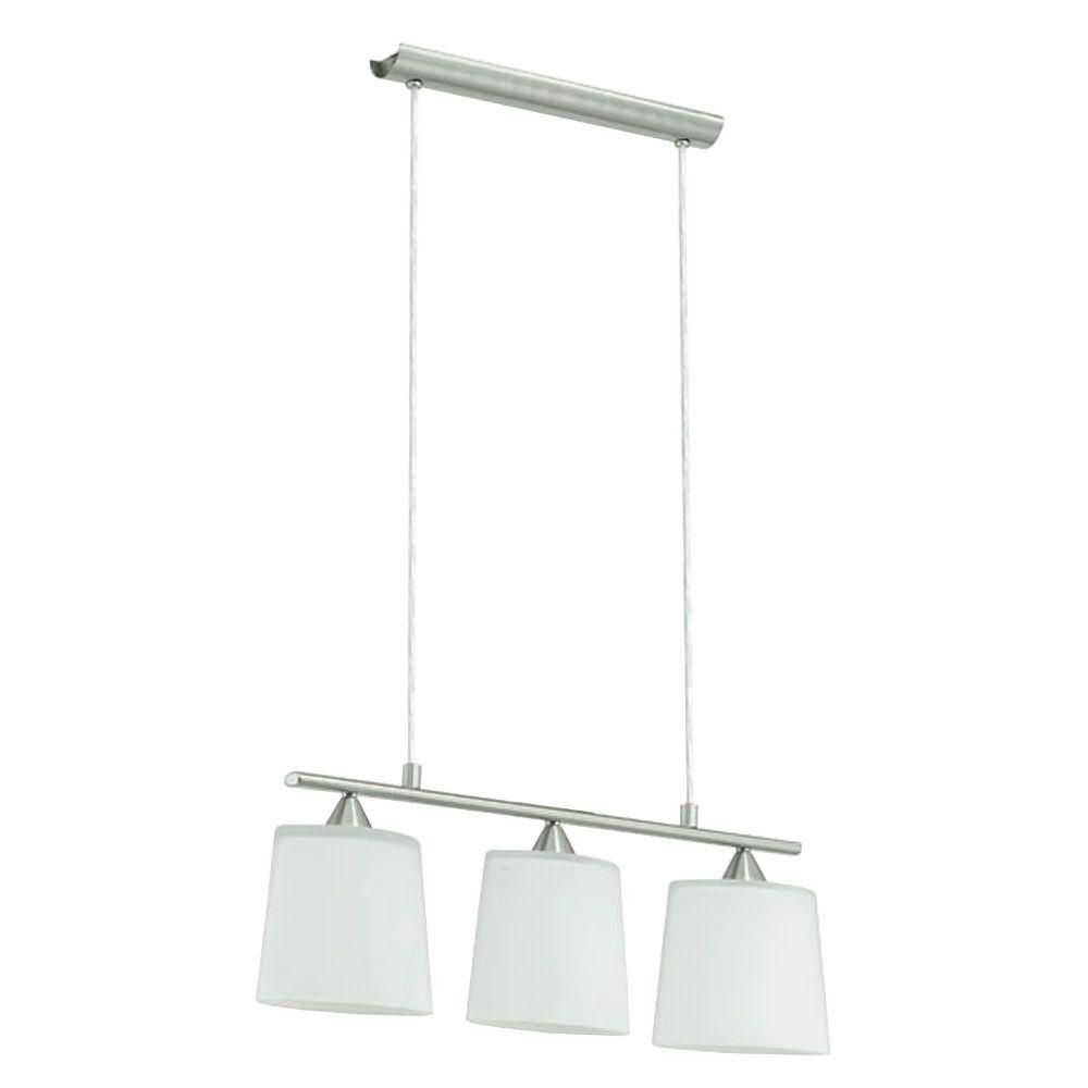 CAVALLA Suspension 3L, fini nickel mat avec verre blanc
