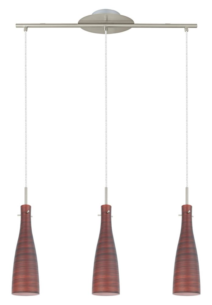 KAMEO 1 Suspension 3L, fini nickel mat avec verre brun essuyé