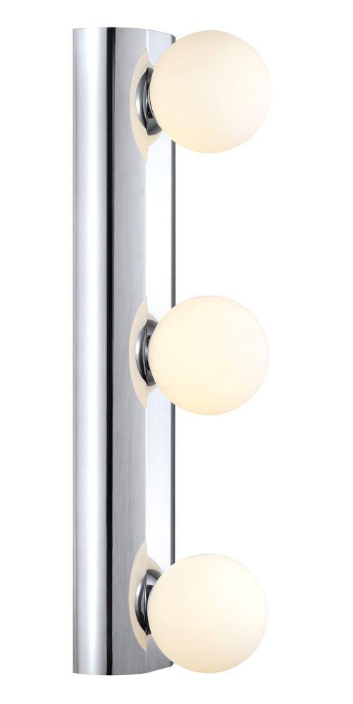 NESO Wall Light 3L, Chrome Finish, White Glass