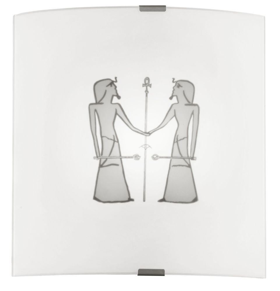 GRAFIK Wall Light 1L, Frosted Glass with Egyptian Motif