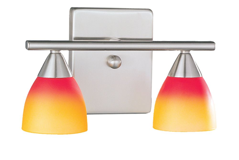 ALEGRE 1 Wall Light 2L, Matte Nickel Finish, Red & Orange Glass