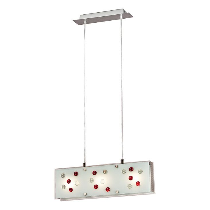 SANTIAGO Suspension 3L, Matte Nickel Finish, Opal Frosted Red & Clear Glass