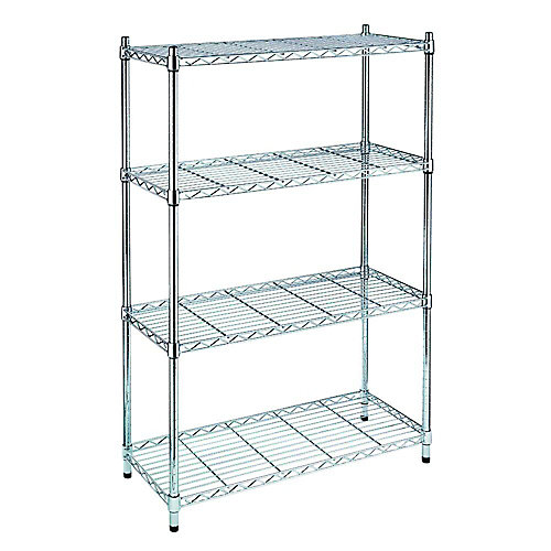 54 inch H x 36 inch W x 14 inch D 4-Tier Storage Unit in Chrome