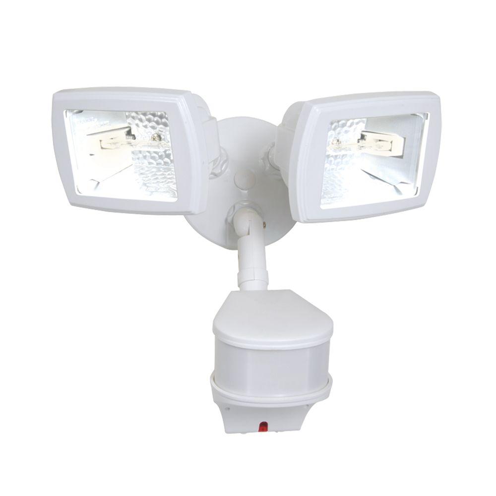 MC Deux projecteurs de sécurité à halogène blancs de 300 W avec détecteur de mouvement 270°