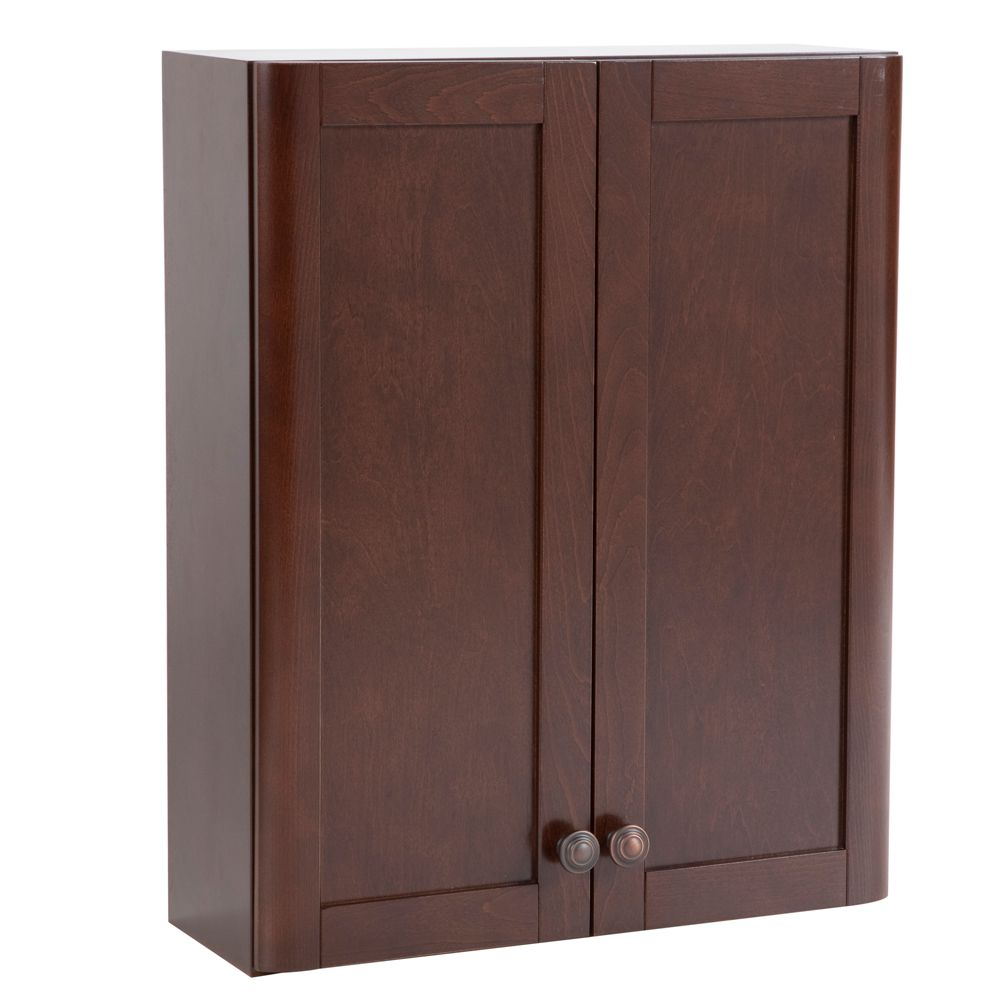Madeline 21-inch W x 26-inch H x 8-inch D Over the Toilet Bathroom Storage Wall Cabinet in Chestnut