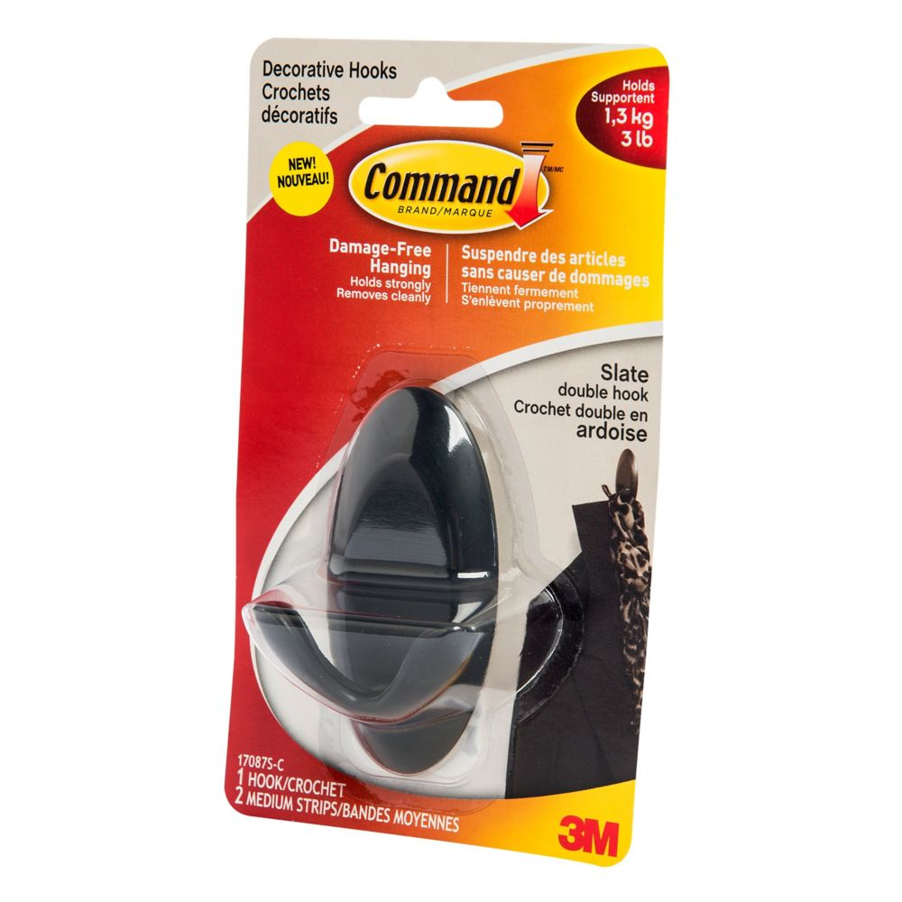 Command Medium Slate Double Hook 17087S-C Canada Discount