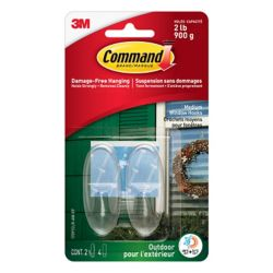 Command Large Outdoor Window Hook, 17093CLR-AWC, clear