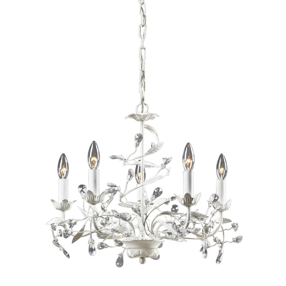 5-Light Ceiling Mount Antique White Chandelier
