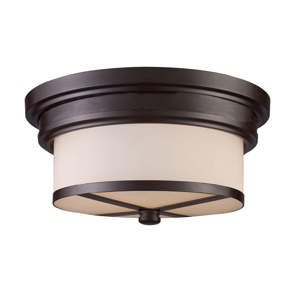 Titan Lighting 2-Light Ceiling Mount Oiled Bronze Flush Mount