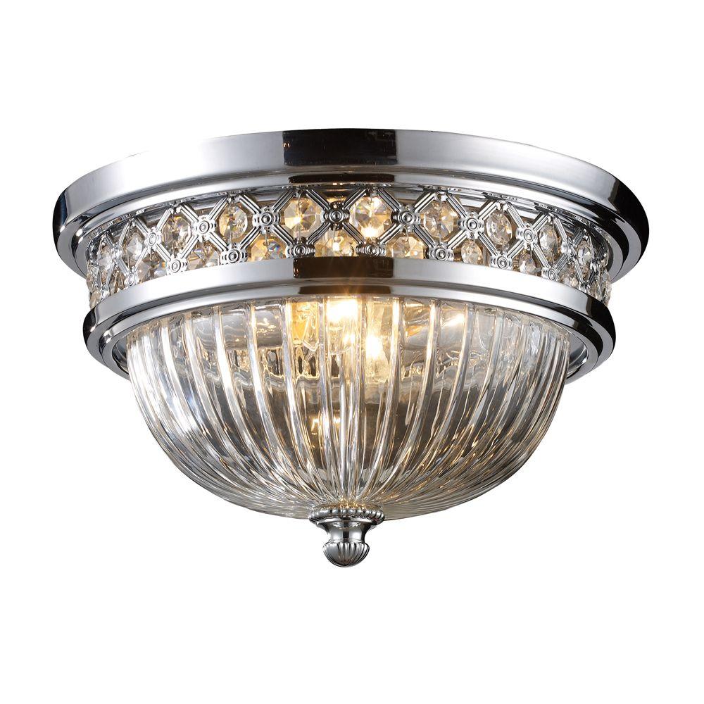 titan lighting 2 light ceiling mount polished chrome flush